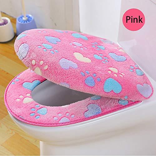 TAOtTAO Zweiteiliger Toilettensitzbezug aus Korallenvlies Coral Fleece 2-teiliges Set Töpfchen WC-Abdeckung Komfort-Kissen (D)