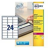 AVERY Zweckform L6146-20 Abziehsichere Etiketten (A4, 480 Stück, 63,5 x 33,9 mm, 20 Blatt) weiß