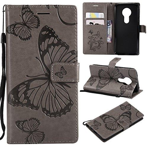 Hozor Motorola Moto E5 Handyhülle, Retro Großer Schmetterling Muster PU Kunstleder Ledercase Brieftasche Kartenfächer Schutzhülle mit Standfunktion Magnetverschluss Flip Cover Tasche, Grau