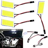 Everbright COB Super blanco 4-Pack 36 SMD LED Panel domo Lámpara Auto coche Interior lectura placa techo luz techo Interior con cable lámpara con 4BA9S adaptador, adaptador del 4T10, 4Festoon adaptador (DC 12V)