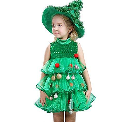 nachtsbaum Kleid Form Kleinkind Mädchen Grün Schleier Kleid Pailletten Red Pelzigen Bälle Leistung Kostüm Party Kuchen Kleid Anzug mit Hut (6-7T) (Weihnachtsbaum-kostüm Für Kleinkind)