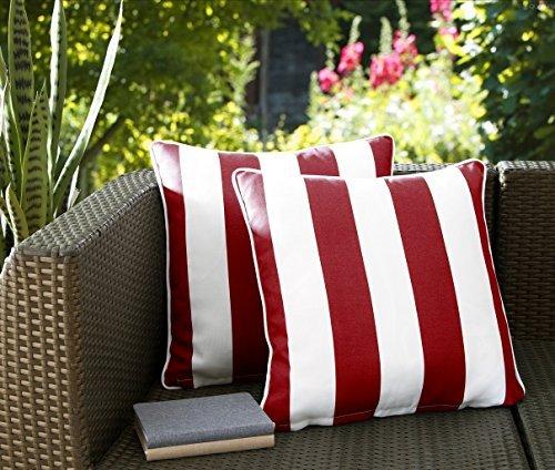 Ornavo Kissen für drinnen und draußen, quadratisch, gestreift, wasserabweisend, 2 Stück Modern Set of 2 Pillows - 18