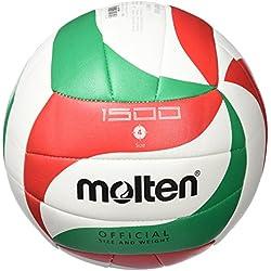 Molten V5M1500, Balón de Voleibol, Multicolor (Blanco / Verde / Rojo), Tamaño 5