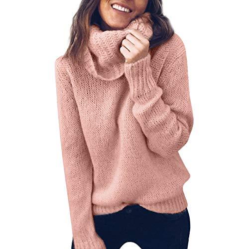 Damen Pullover Sweater MYMYG Frauen Solid Langarm Rollkragenpullover Strickpullover Jumper Pullover Top Bluse(Rosa,EU:40/CN-XL)