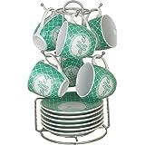 Borella casalighi Tiffany Juego de café con plato y perchero, Porcelana, Colores Variados, 13x 14.5x 23.5cm