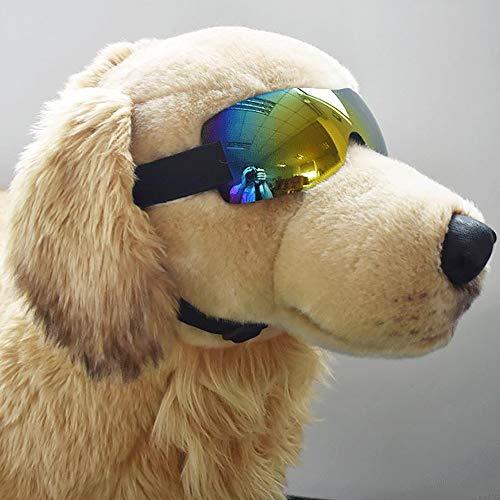 Pet-Dog-Brille, Augenschutz, Hundesonnenbrille UV-Schutz, Spezieller Hund, Wind- und Schnee- und Anti-Fog-Gläser, Skibrille,Yellow