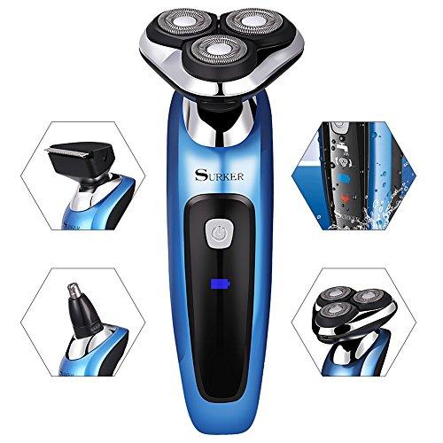 SURKER máquina de afeitar afeitadoras eléctricas Multifunción y Tres cabezas Giratoria