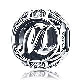 Buchstabe M Anhänger 925 Sterling Silber Alphabet Initial CZ Charms Perlen kompatibel mit Pandora Armbändern