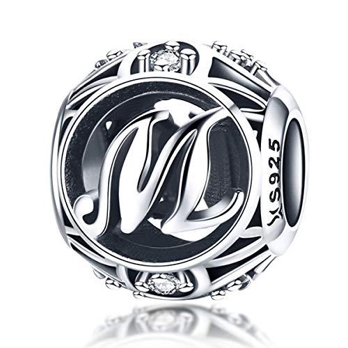 Buchstabe M Anhänger 925 Sterling Silber Alphabet Initial CZ Charms Perlen kompatibel mit Pandora Armbändern (Pandora Charm Armband Perlen)