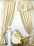 2 Vorhänge im Set *Villa Gracia* Creme-Gold mit Quastenborte, Jacquard-Qualität, je 140 x 260 cm, Ateliergefertigt