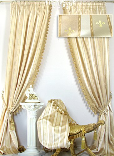 2 Vorhänge im Set *Villa Gracia* Creme-Gold mit Quastenborte, Jacquard-Qualität, je 140 x 260 cm,...