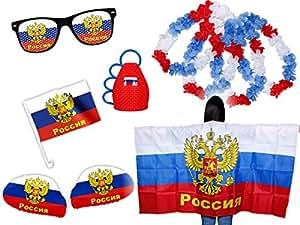 Fußball EM Fanpaket Russland FP-05 Fanartikel Fanset Flaggenumhang Caxirola Brille von Alsino