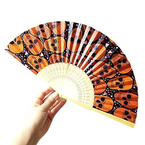 Andouy Retro Faltfächer/Handfächer/Papierfächer/Federfächer/Sandelholz Fan/Bambusfächer für Hochzeit, Party, Tanzen(23cm.Schwarz-Schädel) (Badematte Schädel)