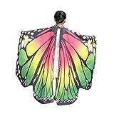 Schal Damen,Binggong Kid Baby Mädchen Schmetterlingsflügel Schal Schals Nymphe Pixie Poncho Kostüm Zubehör Weichen Stoff Pfau Flügel Schal Fee Damen Kostüm Zubehör Eltern Kind (136 * 108CM, Grün)