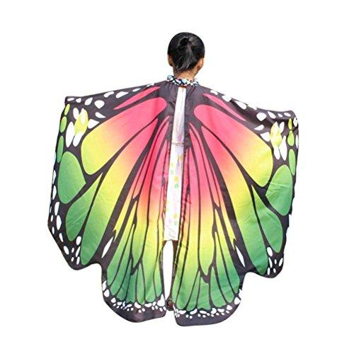 Kid Baby Mädchen Schmetterlingsflügel Schal Schals Nymphe Pixie Poncho Kostüm Zubehör weichen Stoff Pfau Flügel Schal Fee Damen Kostüm Zubehör Eltern Kind (136 * 108CM, Grün) ()