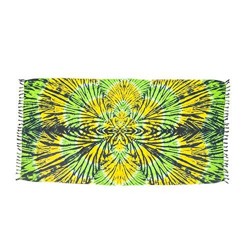 ManuMar Damen Sarong | Pareo Strandtuch | Leichtes Wickeltuch mit Fransen-Quasten (L: 115 x 225 cm, Grün Gelb Mandala)