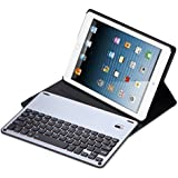 Sheersexykiss Keyboard Case for iPad Pro 9.7, Air 2, Air, Ultra-thin Aluminum Portfolio Case, Removal Bluetooth Smart Keyboard with Auto Sleep/Wake, Black