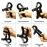 IDEAPRO Adjustable Hand Grip Exerciser (10 - 50kg) - Strengthen Grip, Hand Squeezer, Forearm Grip, Hand Exercise, Gripper, Finger Strengthener (Black)