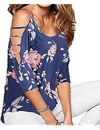 Chemisiers et Blouses pour Femme,Covermason Femmes Chemisier épaules  Dénudées Col Rond Manches 3 4 Imprimé Floral Casual T-Shirt Tops… 2f2f0f8c6938
