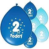 10 x 2ND BIRTHDAY BOY/ AGE 2 BOY BLUE AND LIGHT BLUE MIX PACK BIRTHDAY BALLOONS (PA)