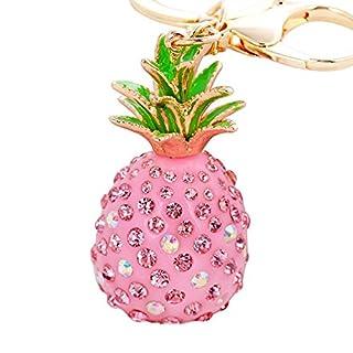 ALCYONEUS Cute Shiny Rhinestones Pineapple Alloy Resin Keyring Women Car Bag Keychain Gift (Pink)