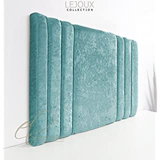 Lejoux™ Collection Panama Luxury Designer Headboard Bed Head in Crushed Velvet in Single Double King (Aqua, 4ft6 (Double) 30 Inches High)