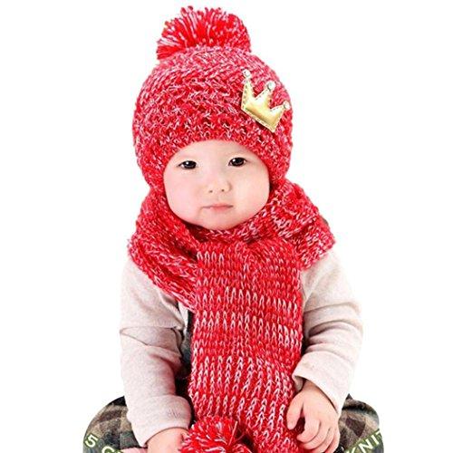 Koly Lindo de invierno bebés de los muchachos Calentar gorros de lana Cofia de la capilla de la bufanda (Rojo)