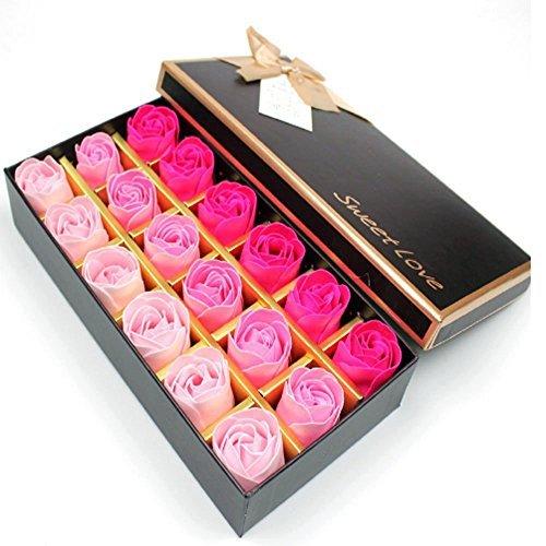 Detalles del producto Material: el jabón  Color: El color degradado  Tamaño de la caja de regalo: 5 x 12 x 23 cm  Diámetro: 1.5 pulgadas para cada flor rosa  Cantidad: 18pcs Rose Jabón + 1pcs caja original Función: * Pétalo de rose con jabón en él, p...