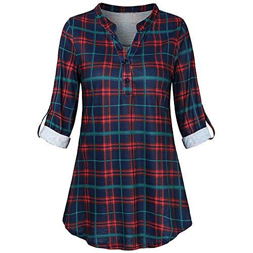 Bluse Damen Herbst Shirt Split V-Ausschnitt Tops Oberteil Sweatshirt Langarm Casual Roll-up Plaid Langarmshirt Lose Hemd Fasching Partytop Tunika Blusen