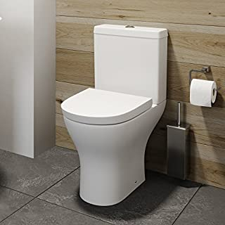 Bathroom Toilet Close Coupled Space Saving Corner WC Pan Soft Close Seat Cistern