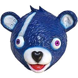Miminuo Novedad Juguete de la Novedad de Halloween Disfraz de Juego de Fiesta Látex Animal Máscara de la Cabeza Completa Acurrucamiento Líder de Equipo Fortnite Bear Máscara de Juego (Blue)