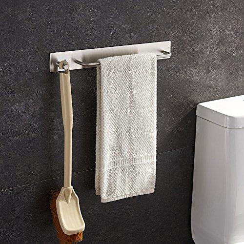 Handtuchhalter mit Haken aus gebürstetem Edelstahl, selbstklebend ohne Bohren zu montieren für Bad und Küche, 34cm Breite, von Ruicer (Handtuchhalter Breit)