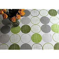 Mantel de hule, vinilo, PVC de fácil lavado con círculos de color blanco, verde lima, verde de 140x 200cm.
