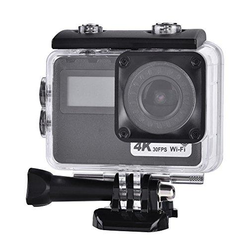 Acouto Action Kamera Anti Shake Sport Kamera, 2-Zoll-Touchscreen 4k 16MP 170 ° Winkel mit Fernbedienung, Wasserdichte Gehäuse Case, Bike Lenkerhalterung, USB-Kabel und Mehr Zubehör Kits