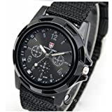 QBD Mens Black Army Military Pilot Aviator Swiss Outdoor Sports Watch-Fabric/Canvas Strap 17-21cm-Decorative dial 4cm-Luminous Hands