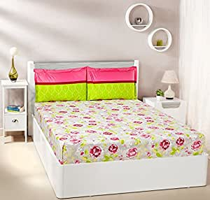 Amazon Brand - Solimo Rose Bloom 144 TC 100% Cotton Double Bedsheet with 2 Complimentary Pillow Covers - Pink
