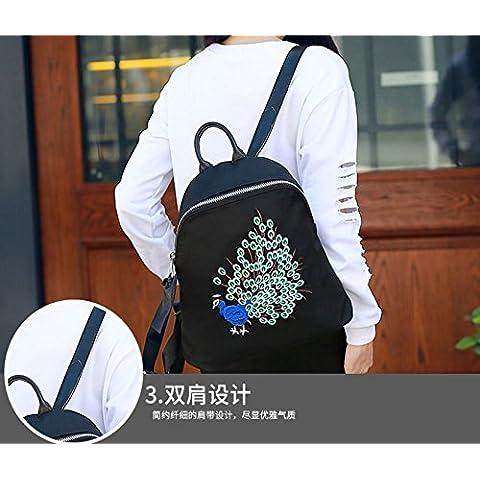 Il coreano tela nylon Oxford zaino impermeabile Joker casual borsette shell ricamato Pack