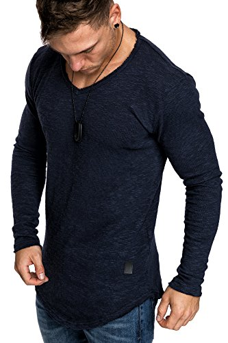 V-neck Vintage Pullover (Amaci&Sons Oversize Slim-fit Muscleshirt Vintage Herren Feinstrick Pullover Sweatshirt Crew-Neck 6076 Navyblau M)