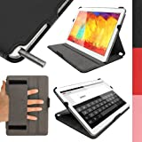 iGadgitz Premium Executive Black PU Leather Case Cover for Samsung Galaxy Note 10.1 SM-P600 and TabPRO 10.1 SM-T520 with Hand Strap + Multi-Angle Viewing Stand + Auto Sleep/Wake + Screen Protector