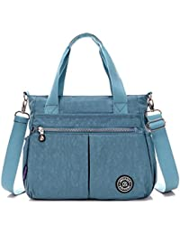 Tiny Chou Water Resistant Nylon Tote Handbag Crossbody Messenger Bag With Detachable Shoulder Strap - B015Z1IQ72