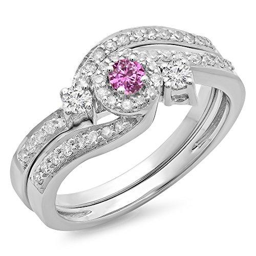 Damen Ring / Ehering 14 Karat Weißgold Rosa Saphir Diamant Twisted Halo Verlobungsring Ehering Set