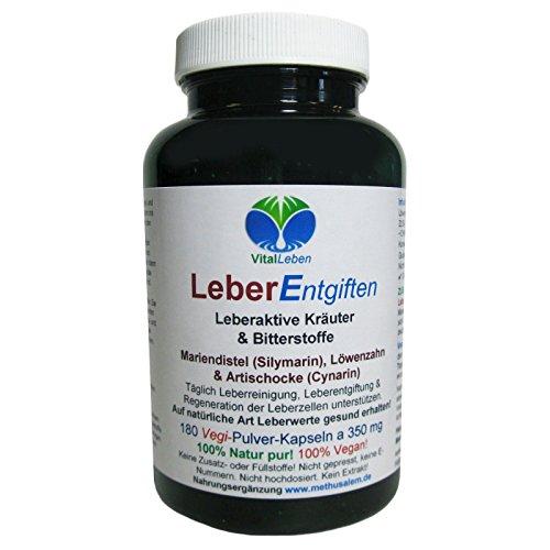 Leber Entgiften   Leber-Galle Kräuter & Bitterstoffe Vegan   180 Kapseln #25916