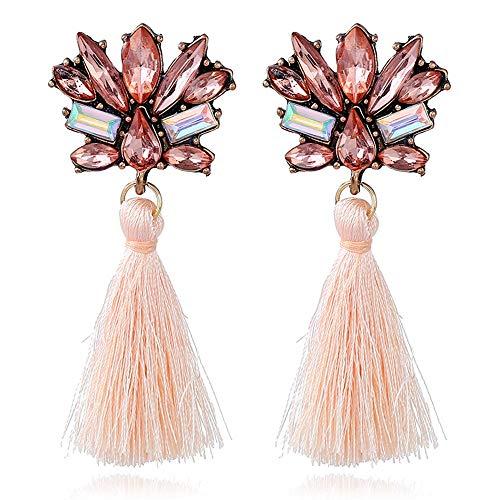 YAZILIND Lange Quaste Ohrringe Elegantes Mädchen Übertrieben Ohr Ringe Dame Schmuck für Frauen Mädchen Hochzeit (Pink)