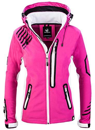 Rock Creek Damen Softshell Jacke Windbreaker Regenjacke Übergangsjacke Softshelljacke Damenjacke Regenmantel Outdoorjacke Kapuze D-402 Pink M