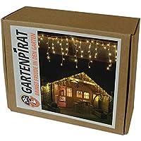 Gartenpirat 6 m Eisregen Lichterkette mit 240 LED warmweiß für aussen und innen