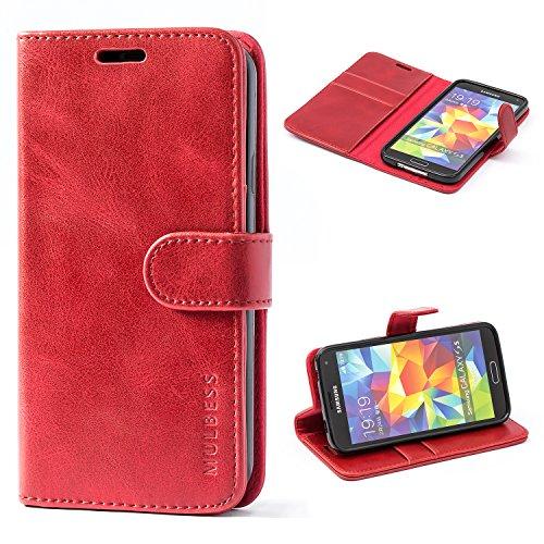 Mulbess Ledertasche im Ständer Book Case / Kartenfach für Samsung Galaxy S5 / S5 Neo Tasche Hülle Leder Etui,Wine Rot