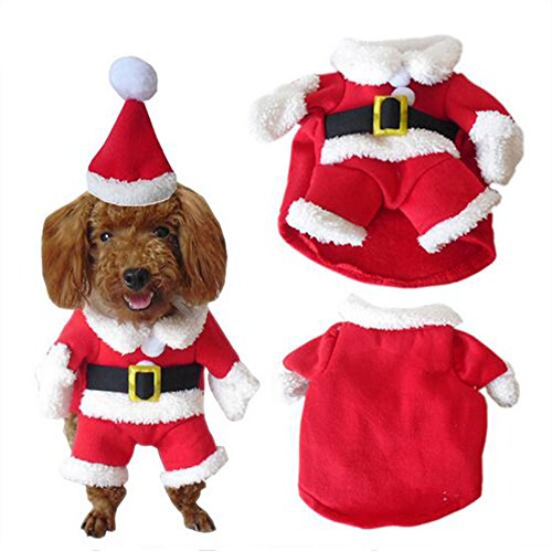 Crazy Shop rot Pet Weihnachten Santa Claus Kostüm, Coat Winter Warm Hoodies für Puppy Hund - Crazy Santa Kostüm