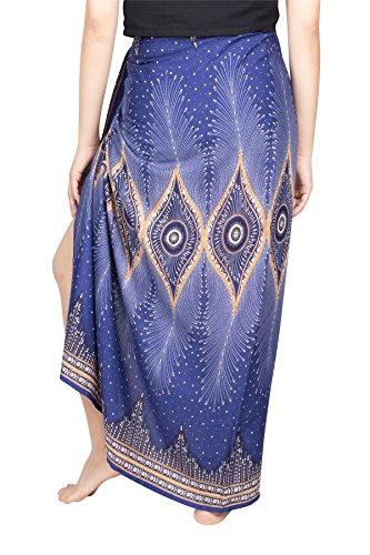 Lofbaz Damen Strand Pareo Sarong Wickeltuch Strandkleid Chabaa Design #4 Blau