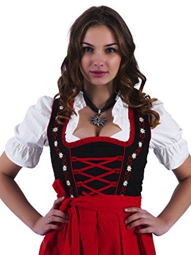 Alpenmärchen 3tlg. Dirndl Set - Trachtenkleid, Bluse, Schürze, Gr.32-60, schwarz-rot, ALM467