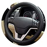 Wsjfc 1pcs Noir Gris Beige PU Micro Fibre Couverture De Volant De Voiture 0907 pour Kia, Hyundai, Toyota, Honda, Rio; Lada,B- Noir